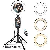 Ring Light KinCam LED Luce ad Anello Specchio Dimmerabile Riempire Treppiede Leggero con Telecomando 3 Modalità 10 Livelli di Luminosità Specchio cosmetico per Trucco, Selfie e Video YouTube