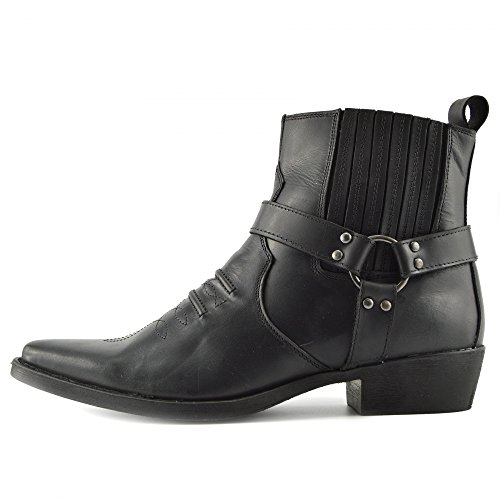 Kick Footwear - Herren Cowboy Ankle Boots Aus Leder Biker-Boots Aus Leder Toe - UK 10 / EU 44, Schwarz