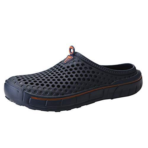 Yvelands Herren Damen Flats Schuhe Strand Sandalen aushöhlen lässige atmungsaktive Hausschuhe(Blau1,40)