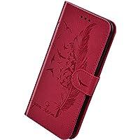 Herbests Compatible con Samsung Galaxy A20 / A30 Funda de PU Protectora de Cartera de Cuero Funda con Tapa Flip Case Antigolpes Anti-Slip Delgada Funda en Relieve Feather Case Cover,Rojo