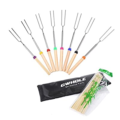 Marshmallow Sticks, GWHOLE 8 Pcs Extendable BBQ Forks 31 - 82cm BBQ Skewers with Canvas Pouch and Bamboo Sticks [One Year Warranty]
