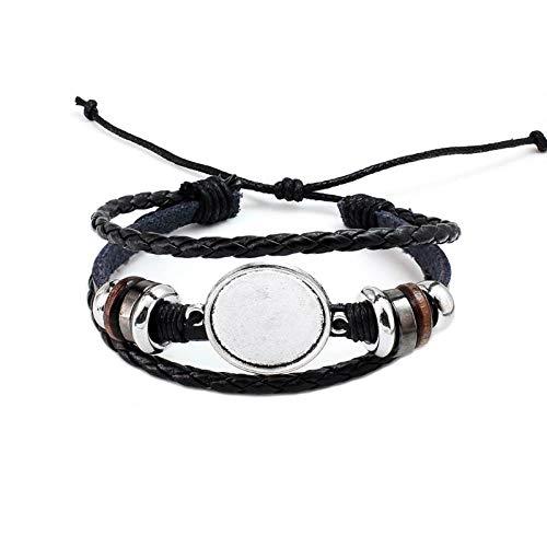 Bienenwachs-basis (AITU Armband 20 MM Runde Foto Glas Cabochon Armband Einstellung Basis Lünette Tablett Schmuckherstellung, 2)