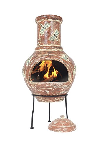 La Hacienda Alegria Clay Chimenea, Medium - Terracotta and Blue
