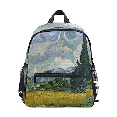 DOSHINE Kinder Kleinkind Rucksack Weizenfeld-Zypressen Van Gogh Vorschulbuch Tasche für Kinder Jungen Mädchen -