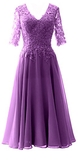 MACloth Elegant V Neck Mother of the Bride Dress Lace Formal Party Evening Gown purple