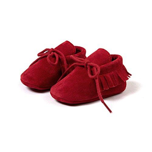 Auxma Mode Bébé garçon berceaux douce unique unique Casual chaussures enfant Chaussons (11cm(0 ~ 6 Mois), Kaki) Rojo