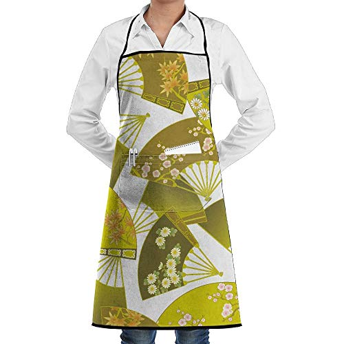 QIAOJIE Bib Apron Pockets Chinese Fan Durable Cooking Kitchen Aprons Can Embroidery (Pic-fan)