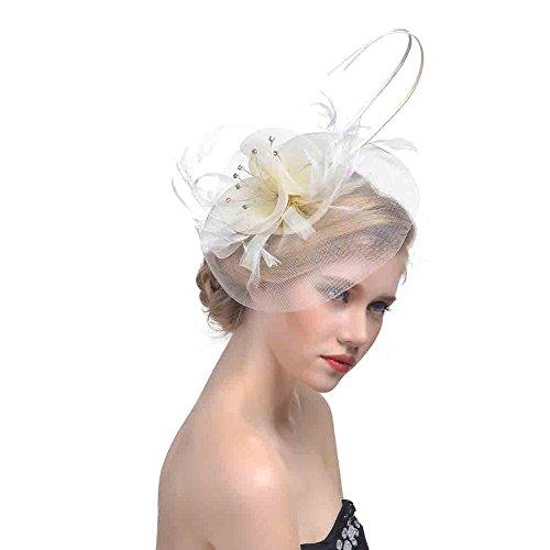 Kopfschmuck Fascinator Hut Blau Weiß Schwarz Mesh Bänder Federn Stirnband Einem Geteilten Clip Cocktail Tea Party Headwear für Mädchen Damen Elegante Schleier Feder Haar Klipp Hochzeit Haarband Panel-camouflage Twill Cap