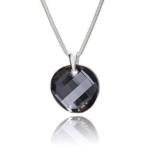 LillyMarie Damen Halskette echt Silber original Swarovski Elements Anhänger rund dunkel-grau längen-verstellbar Schmucketui, Geburtstags Geschenk für