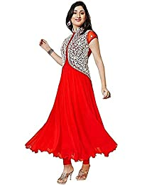 Best Discount Deal Offer In New Collection Dress Amazon Prime By KFHub Red Latest Design Georgette Fashion Embroidered...