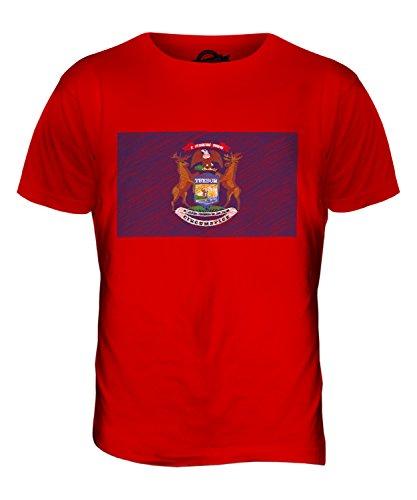CandyMix Michigan State Bandiera Scarabocchio T-Shirt da Uomo Maglietta Rosso