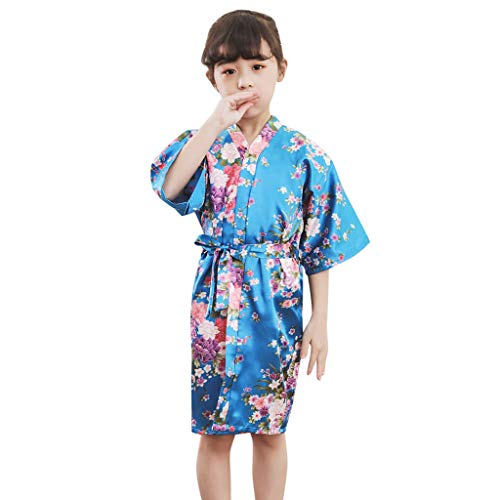 508e88d0c21 LEXUPE (3Y-8Y 2019031402 Kinder ÄRmel Blume Sakura Print Krawatte DüNne  Strickjacke Bademantel Bademantel