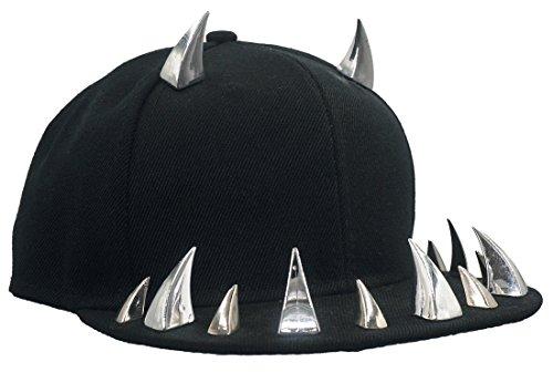 ziert Teufel Ox Horn Baseballmütze Kappe Hip Hop Punk Streetstyle Schirmmütze Hut Silber ()