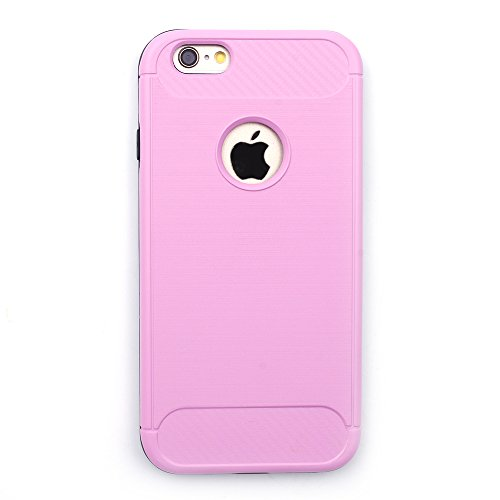 iProtect TPU Schutzhülle Apple iPhone 6, 6s Carbon Case brushed rot Rosa