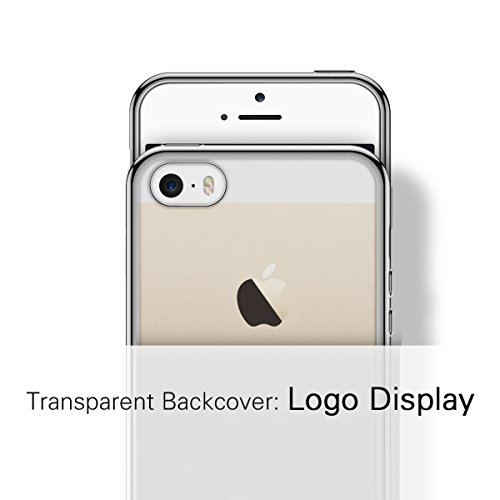SMART LEGEND Cover per Apple iPhone 5/5s/SE Morbido Silicone Case Scratch Resistant Plating Case Soft Silicone Custodia TPU Bumper Clear Trasparente Protective Back Cover Crystal Clear Case Ultra-Slim Grigio