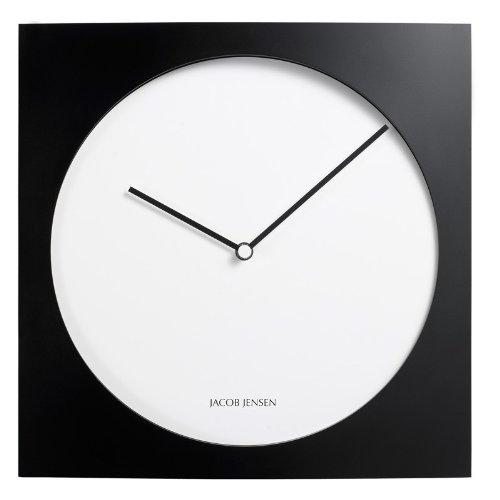 Jacob Jensen - Wanduhr, Uhr - Farbe: Schwarz/Weiß - Aluminium - 35 x 35 cm - zeitloses dänisches Design