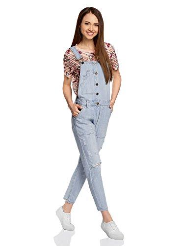 oodji Ultra Damen Jeans-Latzhose mit Knöpfen Blau (7000W)