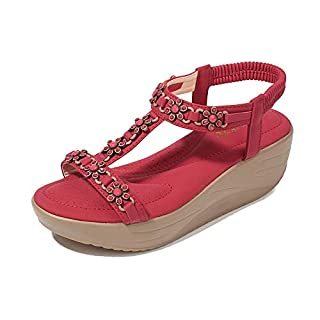 CHLCH Women's Open Toe Sandals Summer Bohemian National Bohemian Beach Slippers Elastic Flat SandalsElastic Band Wedge with Thick red 40