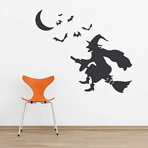 61x52 cm Schwarze Hexe Auf Besen Mit Fliegenden Fledermäusen Wandtattoos Vinyl Kunst Spooky Halloween Wandbild Aufkleber Kinderzimmer Comics Decor