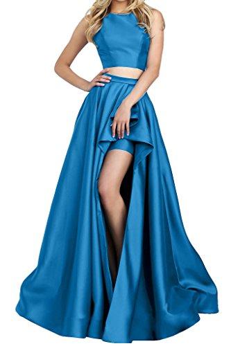 Prom Style Damen Prinzessin Bauchfrei Rueckenfrei Abendkleider Ballkleider Cocktailkleider Partykleider Hi-Lo Lang Blau