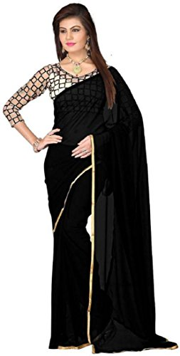 Sarees (Women\'s Clothing Chiffon Sarees for women latest Color Sarees collection in latest Sarees with designer Net Blouse Piece free size beautiful bollywood Sarees for women party wear offer design