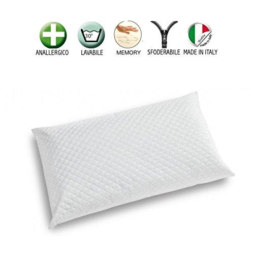 Cuscino memory foam basso altezza 8 cm guanciale saponetta per cervicale con fodera di protezione antiacaro ed antibatterica sfoderabile e lavabile - made in italy