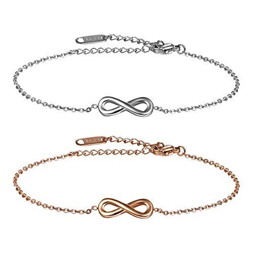 Cupimatch Infinity Armband Damen Set 2pcs Unendlichkeit Edelstahl Armkette Armreif Geburtstagsgeschenk für Damen Mädchen 17+5cm, Silber Rosegold (Edelstahl-infinity-armband)