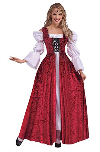 Kostüm Renaissance Adult Queen - Ladies Medieval Costume Red Gown & White Chemise