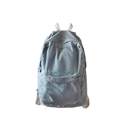 Resplend Unisex Mode Denim-Rucksack Beiläufig Reiserucksack Reißverschluss Schultasche Retro Umhängetasche Backpacks (Hellblau) (Denim-rucksack Vans)