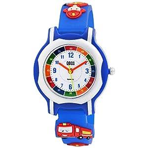 Qbos Kinderuhr Feuerwehr Auto Blau Silber Rot Kunststoff Silikon Analog Quarz Lernuhr Armbanduhr für Jungen Mädchen