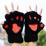 ZHANGYUGEGE Winter Frauen süße Katze Kralle Paw Plüsch Handschuhe Kurze Fingerlose halben Finger Handschuhe