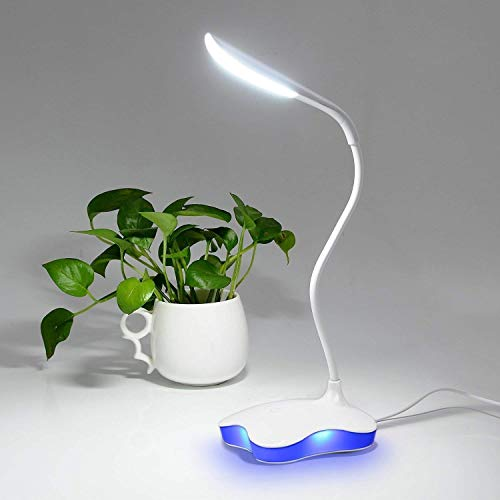 GREEMPIRE Schreibtischlampe LED, Tischlampe USB dimmbar mit Berührendem Schalter, Schreibtischleuchte Dimmbar für Lesen Nacht, Tischlampe für Kinder Jungen Schüler (Blaues Licht, Weiß)
