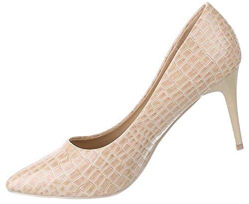 Damen-Schuhe Pumps | Frauen High Heels mit 8 cm Stiletto-Absatz in verschiedenen Farben und Größen | Schuhcity24 | Klassische Abendschuhe in Schlangenlederoptik Beige