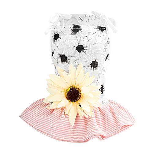 Muster Kostüm Sonnenblumen - perfk Hundekleid Sonnenblume Muster Kleid Rock Kleidung Kostüm für kleine Hunde - Schwarz, S