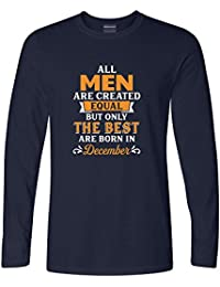 Addmetocart Solid Men's All Men Are Created Equal But Only The Best Are Born In December Full Sleeve Navy T-Shirt