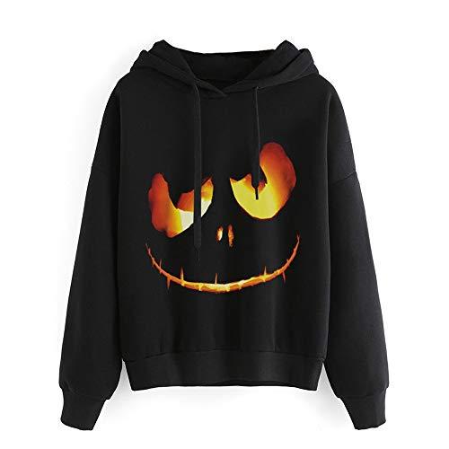 (Halloween Damen Kapuzenpullover Hoodie Sweatshirt Halloween Kürbis Teufel MYMYG Sweatshirt Pullover Tops Bluse Shirt Plus Größe(Schwarz,EU:48/CN-5XL))