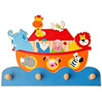 Inware 22409–Appendiabiti per bambini arca di Noè, in legno - Bambini Mobili Arca Di Noè