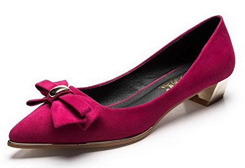 AalarDom Femme Tire Pointu à Talon Bas Couleur Unie Suédé Dépolissement Chaussures Légeres Cramoisi-Nœuds à Deux Boucles