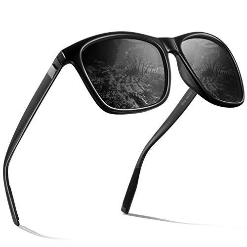 wearPro Männer Polarisierte Sonnenbrille Herren Sonnenbrille für Männer HD Objektiv Metallrahmen Herren Sonnenbrille WP 2003 (Schwarz/Pistole 2, 2.16)