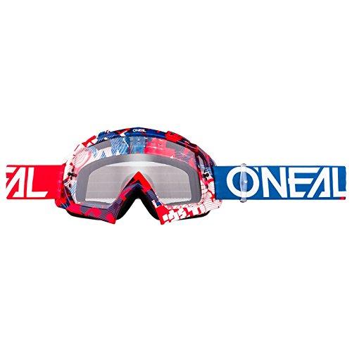 O'Neal B-10 Goggle Pixel Crossbrille Klar Motocross DH Downhill MX Anti-Fog Glas, 6024-30, Farbe blau