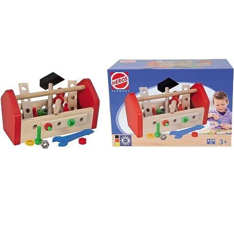 HEROS Germany 30-teiliges-Set Holz-Werkzeugkasten mit Zubehör: Holz Kinder Werkzeug für Kinder Werkzeugkasten Werkzeugkoffer
