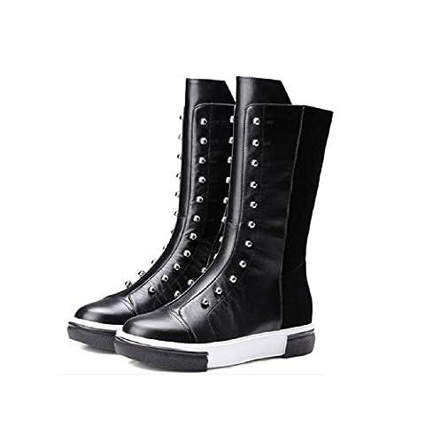 YYH Femmes Side Zipper Vache suede Bottes d'équitation Slip on Flat Shoes , black , 36