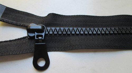 Reißverschluß Kunststoff teilbar für Jacken 75 cm schwarz (Reißverschluss-band -)