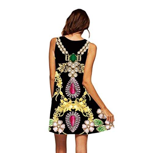 VEMOW Vintage Boho Frauen Sommerkleider Sleeveless Strand Gedruckt Kurzes Minikleid Eine Linie Abendkleid Täglich beiläufige Partei Weste T-Shirt Kleid Plus Size Rock(X1Schwarz 4, EU-48/CN-2XL)