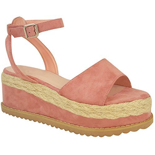 Sandales avec lanières - style espadrille/semelle plateforme épaisse - femme Faux suède rose pastel/bohème