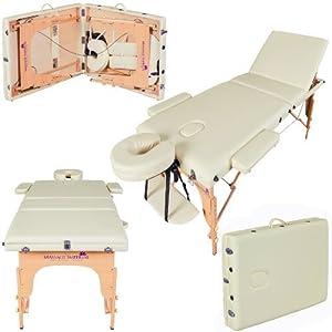 Massage Imperial® – tragbare Profi-Massageliege Chalfont – leicht 16kg- 3-teilig – Creme