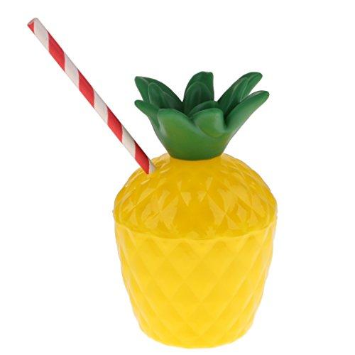 etränke Becher Trinkbecher Trinkflasche Cocktailbecher mit Tropischen Ananas Form, aus Plastik ()