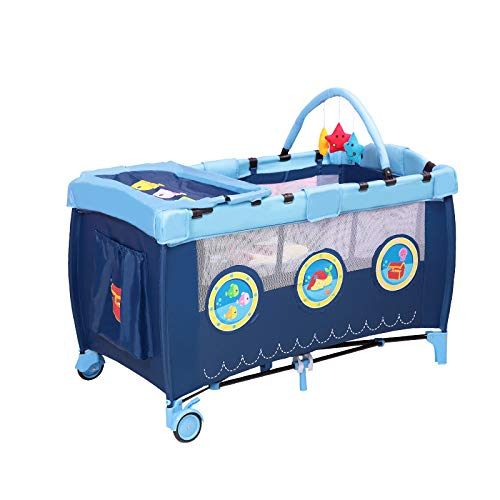 Zusammenklappbare Krippen Kompakt Tragbares Und Sicheres Babybett Geeignet Für 0-4 Jahre(125 * 66 * 77cm) Blau,OceanSeries - Runde Holz Krippe