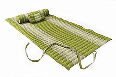 Thaimatten Set (Yogaset II): rollbare Thaimatte 200x100 + Kissen 35x15x10 + Rolle 80x20 (Thaimuster bambusgrün)