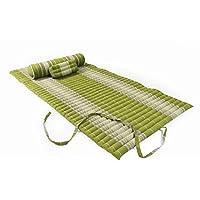 Preisvergleich für Thaimatten Set (Yogaset II): rollbare Thaimatte 200x100 + Kissen 35x15x10 + Rolle 80x20 (Thaimuster bambusgrün)